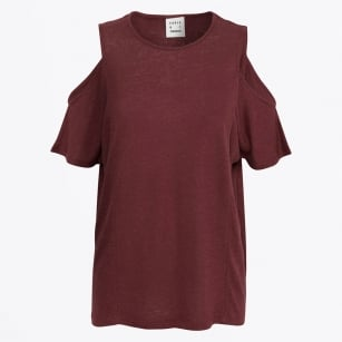 | Neon Open Shoulder Tee - Chocolate
