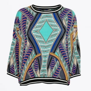 | Notch Poncho Blouse - Print