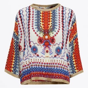 | Nuant Gold Trim Blouse - Multicolour