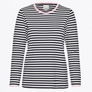 - Tape Striped Tee - Navy