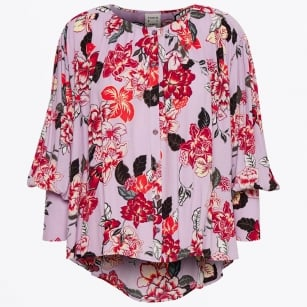 - Task Blouse with Floral Pattern - Lilac