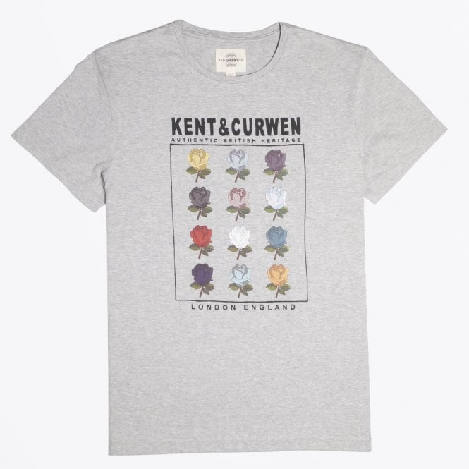 Kent & Curwen - Multi Rose T-shirt - Grey