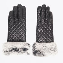 - Quilted Rabbit Fur Trim Gloves - Black