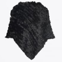 - Rabbit Fur Poncho - Black