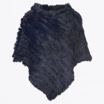 - Rabbit Fur Poncho - Navy