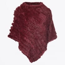 - Rabbit Fur Poncho - Wine