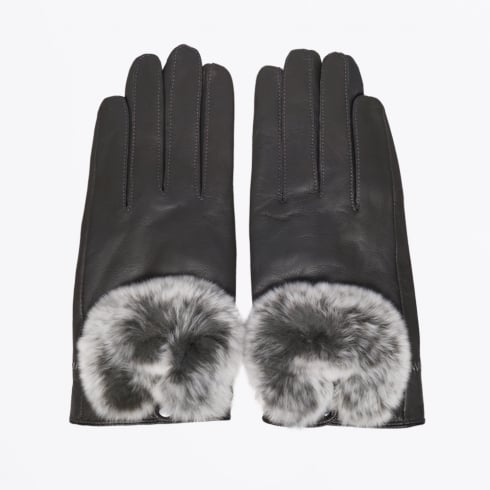 Little Red Fox - Rabbit Fur Trim Gloves - Grey