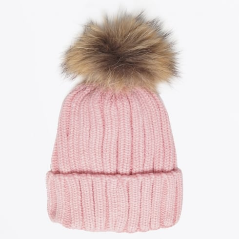 Little Red Fox - Raccoon Fur Pom Pom Hat - Blush