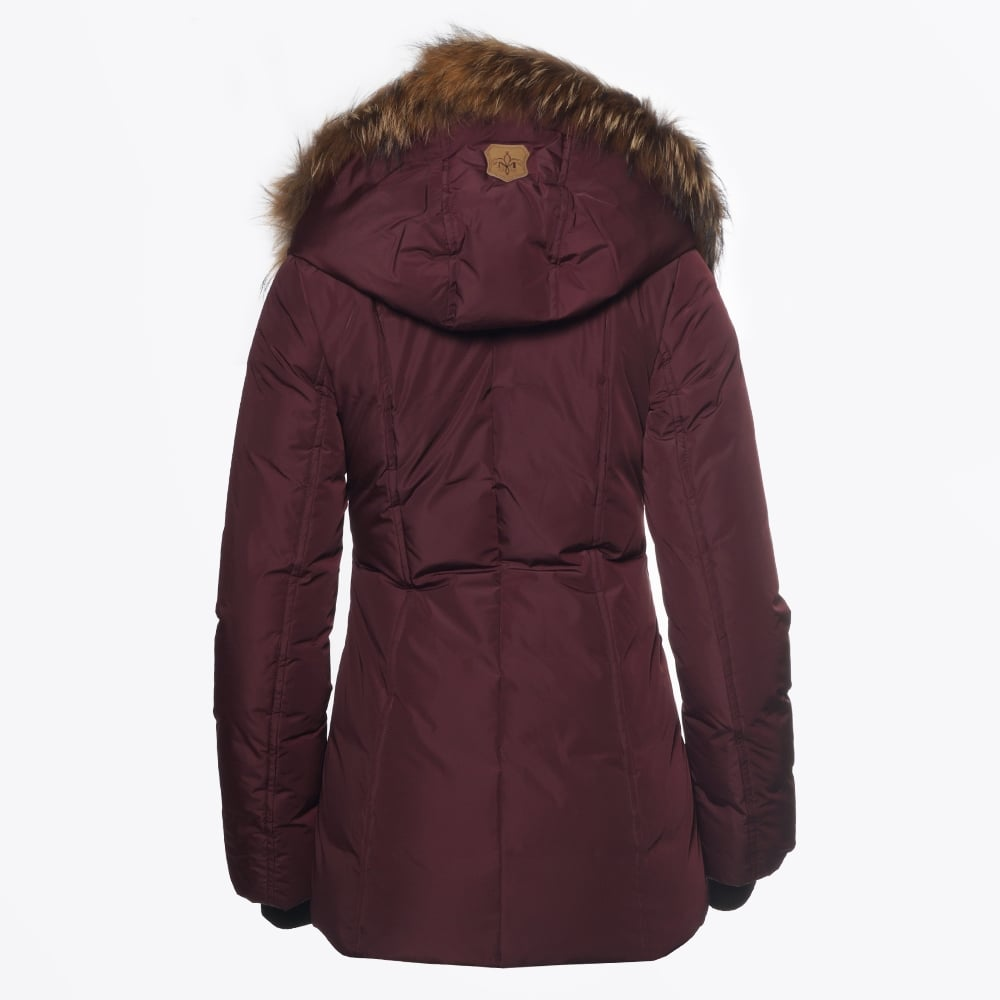 345c27cc33d1 Adali Fitted Winter Down Coat with Fur Collar - Bordeaux