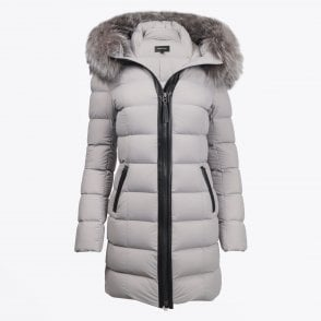 - Calla - Mid-Length Down Coat With Fur Hood - Light Grey