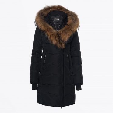 Kay Mid Length Winter Down Coat With Fur Collar – Black