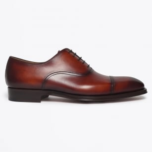 - Lace-Up Shoe With Toe Cap - Cognac