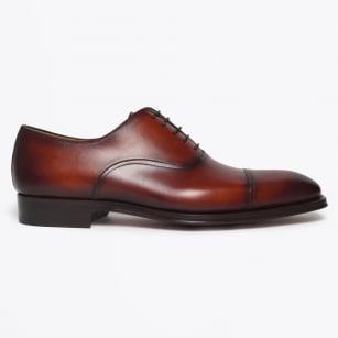 | Lace-Up Shoe With Toe Cap - Cognac