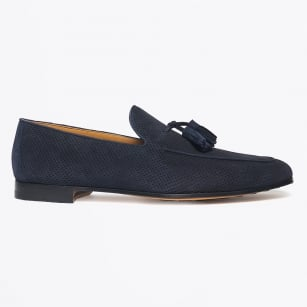 - Suede Tassel Loafer - Navy