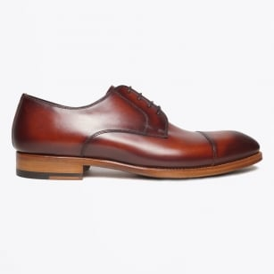 - Tanning Burnished Oxford Lace Up Shoes - Cognac