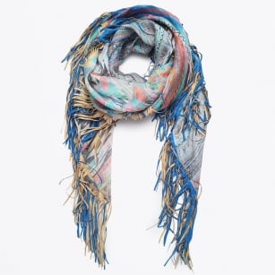 - Backlash - Linen Leather Fringe Scarf - Multi