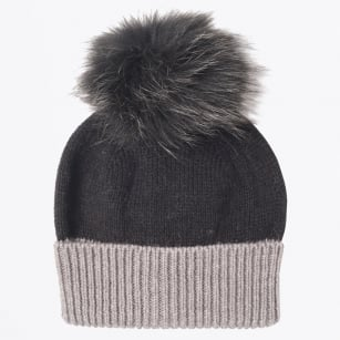 - Dolores Knitted Fur Pom Pom Hat - Black/Grey