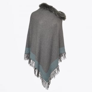 - Finola Raccoon Fur Poncho - Grey