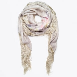 | Gold Fringe Buttercream Scarf - Rose