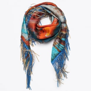 | Made My Day - Silk & Blue Fringe Scarf - Red/Blue