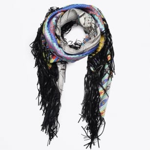 | Mexican Silk & Black Fringe Scarf - Multi