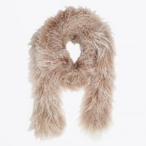 - Swan Shearling Scarf - Grey/Taupe