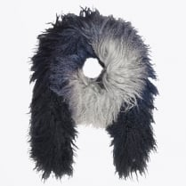 - Swan Shearling Scarf - White/Blue