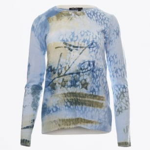 - Crew Neck Printed Knit Top - Blue