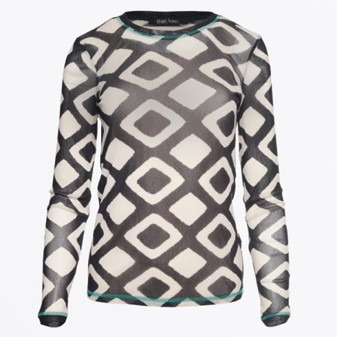 Marc Aurel - Diamond Print Sheer Overlay Top - Black Varied