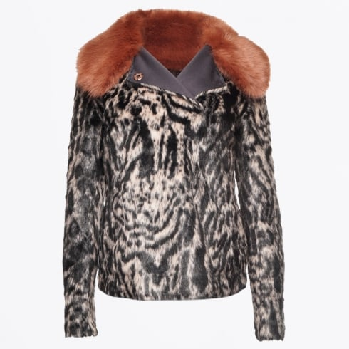 Marc Aurel - Faux Fur Leopard Print Reversible Jacket - Light Copper
