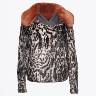 - Faux Fur Leopard Print Reversible Jacket - Light Copper