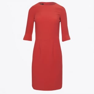 - Flute Sleeve Dress - Rhubarb