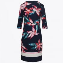 - Flute Sleeve Flower Dress - Navy