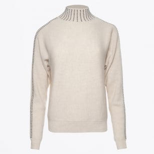 - High Neck Stud Detail Sweater - Sand