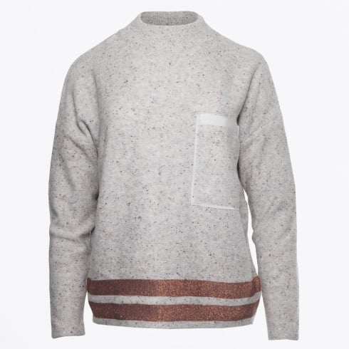 Marc Aurel - Highneck Knit With Lurex Trim - Grey