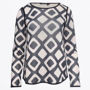 - Knitted Square Print Top - Black Varied