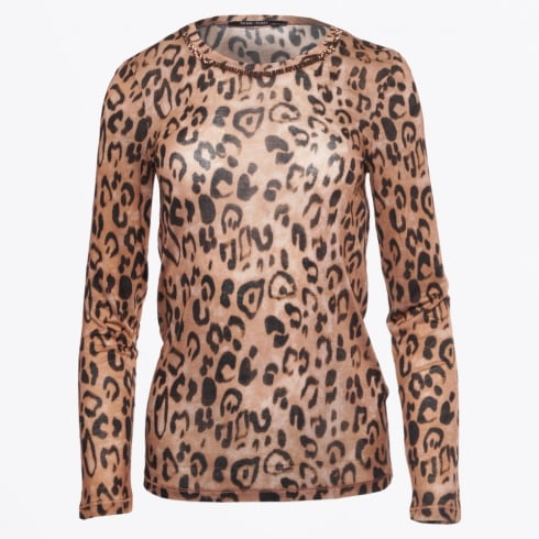 Marc Aurel - Leopard Print Top With Gold Trim