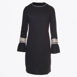 - Ribbed Bell Sleeve Dress - Black