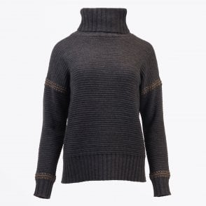 - Ribbed Roll Neck Sweater - Charcoal