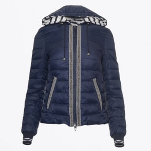 - Stripe Hooded Puffa - Navy