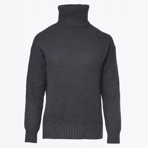 Marc Aurel - Studded Roll Neck Sweater - Dark Grey