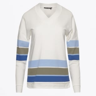 - V-Neck Jumper with Stripes - Off White
