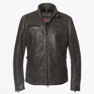 | Osborne Blouson Leather Jacket - Dark Grey