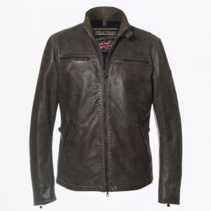   Osborne Blouson Leather Jacket - Dark Grey