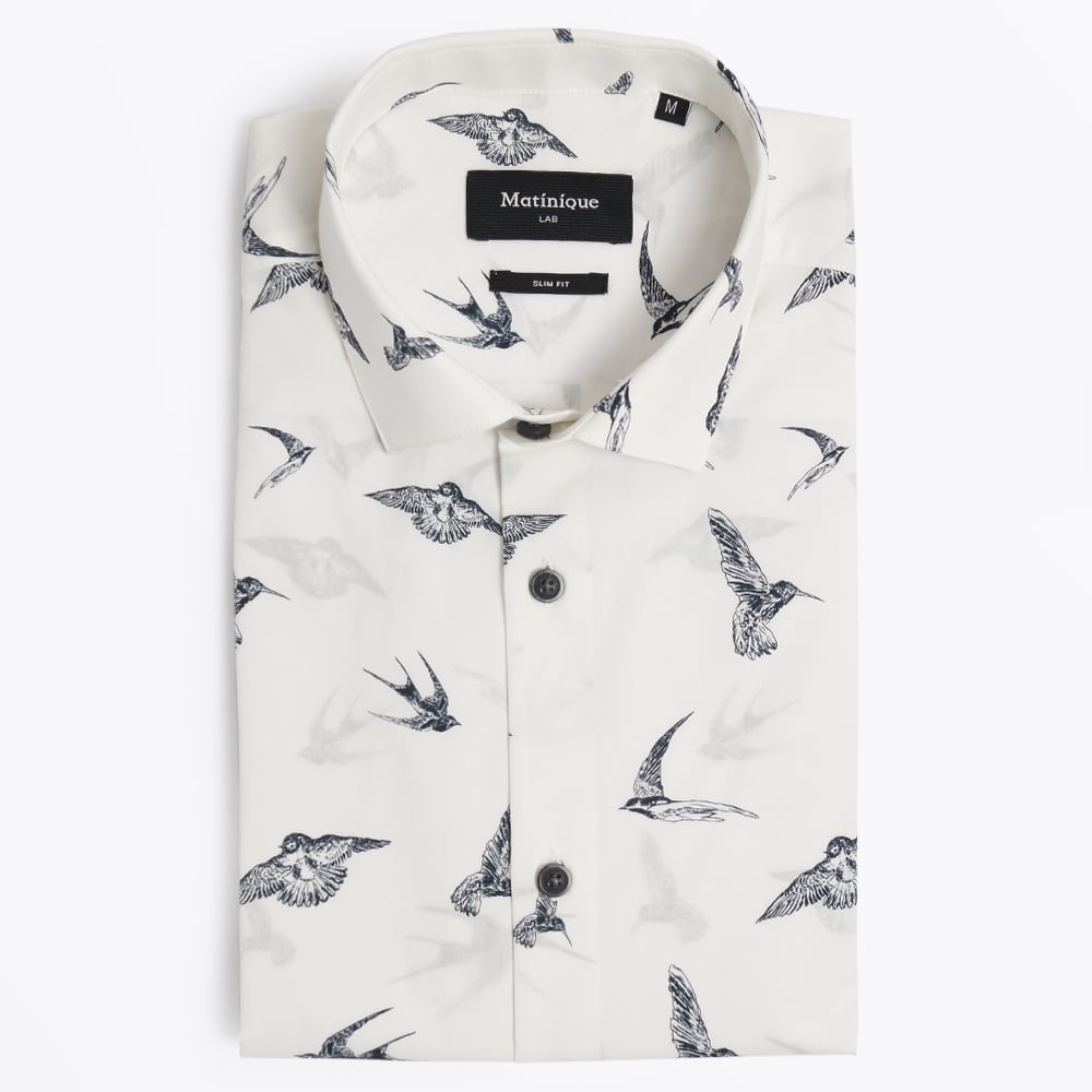 Allan Dark Bird Print Shirt White Mens Designer Shirts Matinique