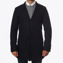 - Aron Visible Edged Wool Coat - Black
