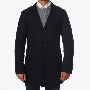 | Aron Visible Edged Wool Coat - Black