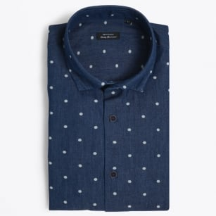 | Trostol Circle Jacquard Dot Shirt - Navy