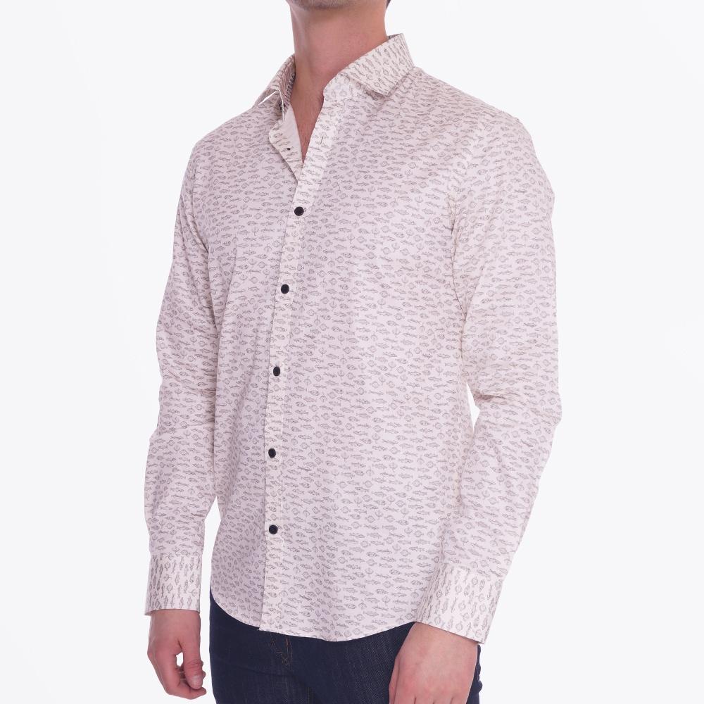 Trostol Fish Print Shirt Casual Shirts For Men Matinique