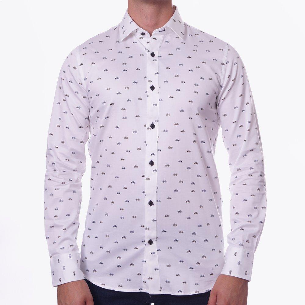 Bicycle print trostol white shirt designer shirts for Shirts to print on